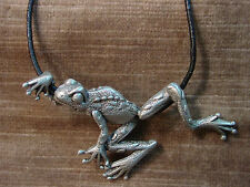 """JJ"" Jonette Jewelry Silver Pewter FROG Pendant 18"" Necklace"