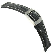 20mm Morellato Genuine Leather Contrast Stitched Black Fits Swatch Watch Band