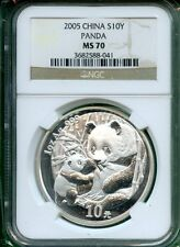 CHINA  PANDA 2005 NGC MS 70  1 OZ  SILVER  10 YUAN
