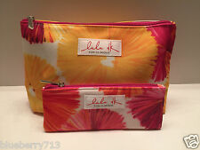 CLINIQUE Floral Cosmetic Makeup Bag Zipper Pouch (1 Large + 1 Small ) by Lulu DK
