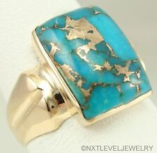 Antique SIGNED ESEMCO 1920's Art Deco Mosaic Turquoise 10k Solid Gold Men's Ring