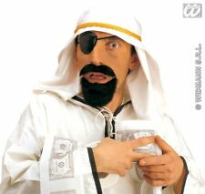 A Fake Sheikh White Headpiece Beard Eyepatch Dubai Arabian Desert Party Costume