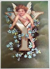 "*Vintage ANGEL ALPHABET LETTER ""Y"" Floral FOIL POSTCARD Clapsaddle FORGET-ME-NOT"