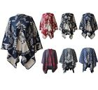 NEW WOMENS AZTEC PRINT WRAP SHAWL REVERSIBLE KNITTED CARDIGANS PLUS SIZE 12-30
