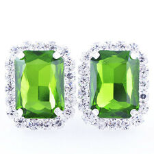 Fashion White Gold Filled Green Big Square Crystal womens lucky Stud Earrings