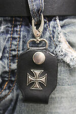 Men Silver Key Chain Ring Holder Iron Cross Charm Clasp Hook Black Faux Leather