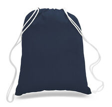 10 Pack Navy Color Drawstring Bag Durable Cotton Sport Gym Hiking Beach Backpack