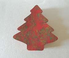Paper Mache Christmas Tree Shaped Box 11 X10 HAND PAINTED INSIDE & OUT RED, GOLD