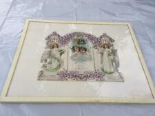 Antique Victorian Diecut Panel EASTER Cherub Angel in White Wooden Frame Framed
