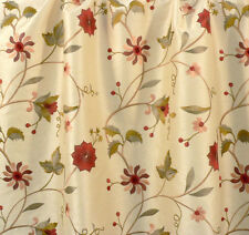 Drapery Upholstery Fabric Embroidered Floral Faux Silk Shantung - Beige