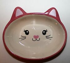 New Pink Ceramic Cat Face Feeding Dish/Bowl With Whiskers, Nose & Pointy Ears