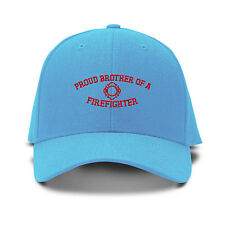Red Proud Brother Of A Firefighter Embroidered Adjustable Hat Baseball Cap