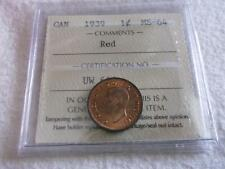 CANADA 1 CENT 1939 PRO-GRADED ICCS MS-64  RED  Z294