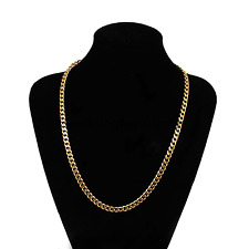 "Yellow Solid Gold Filled Cuban Chain Necklace 18"" 5mm Thick Men's jewelry Women"