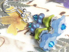 Earrings Czech Glass Capri Blue Swarovski Crystal Blue & White Lucite Flowers