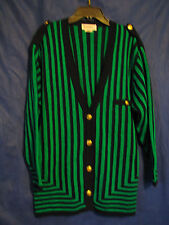 BRUESTLE West Germany VINTAGE SWEATER CARDIGAN Green/Blue NAUTICAL STRIPE sz 10
