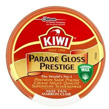 Kiwi Parade Gloss Prestige Mid Tan Shoe Polish Premium Wax Shoe Army Boot Polish