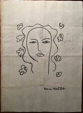 Matisse Original Graphite Hand Signed Drawing Female Figure