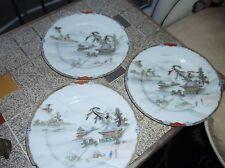 """3 x vintage oriental doré rim 7.5"""" plaques perle lustre pagode river design"""