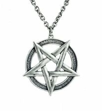 Large Inverted Woven Pentagram Necklace Aleister Crowley Occult Metal Satanic