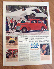 1940 Studebaker Champion Club Sedan Ad  Skiing Resort Cabin Theme