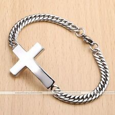 Mens Silver Tone Stainless Steel Cross Curb Link Chain Bracelet Bangle Wristband