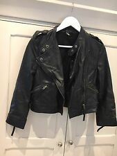 Topshop Black Leather Biker Jacket Size 8