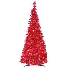 6' POP UP CHRISTMAS TREE PRE-LIT 250 CLEAR LIGHTS RED TINSEL PULL UP TREE NEW