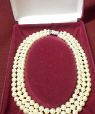 Jackie Kennedy Triple strand faux pearl necklace