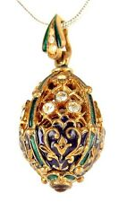 Faberge Egg Sterling Silver Gold Plated Enamel Crystals Garnets Pendant Collect