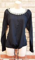 RED G21 BLACK LONG SLEEVE BEADED COLLAR TRIBAL  T SHIRT TUNIC TOP BLOUSE 8 S
