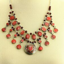 CORAL BellyDance ATS Costume NECKLACE Kuchi Tribe 806c3