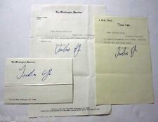 Tristram Coffin journalist set of 3 hand SIGNED items Washington Spectator RARE