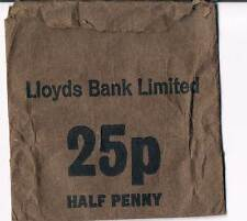 USED LLOYDS BANK LIMITED 25p HALF PENNY PAPER COIN BAG - BROWN