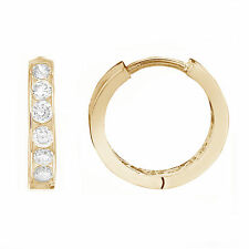 10K Yellow Gold Baby Kids CZ Huggie Hoop Earrings 10mm