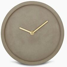 Minimalist Nordic Style Natural Grey Concrete Round Wall Clock Gold Hands NEW