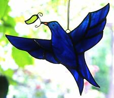DARK BLUE DOVE with OLIVE LEAF Stained Glass Suncatcher PEACE SPIRITUAL GIFTS