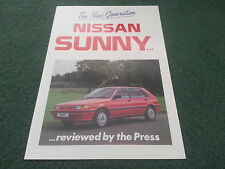 Feb 1987 Nissan SUNNY PRESS REVIEWS Hatchback Saloon Coupe Estate UK BROCHURE