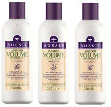 3 X Aussie Aussome Volume Fine, Limp Hair Conditioner 250 ml