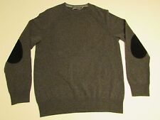 NWT AUTHENTIC VINCE Crewneck Cashmere Wool Elbow patch Sweater Gray Size Medium