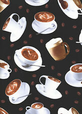 Coffee Cups 1 Fat Quarter 100% cotton fabric quilt quilting food drink
