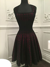 ALAIA Black & Red Stretch Knit Wool W/ Eyelet Overlay Dress Size 40 (french)
