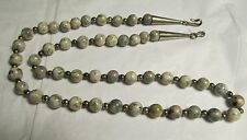 ANTIQUE CHINESE VINTAGE CELADON GRAY JADE STERLING SILVER 6 mm BEAD NECKLACE 23""