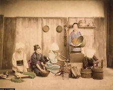 Japan Women in the kitchen Original vintage handcolored photo 1890c XL189
