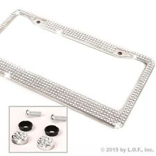 All White Silver Bling Glitter Crystal RhineStone License Plate Frame Car Auto