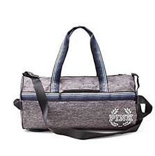 New~Victoria's Secret PINK Weekender Duffle Gym Bag Double Strap Mark Gray Blue