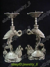 antique excelle pair Tibet silver candlestick carved turtle and the crane statue