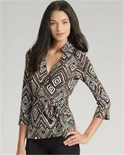 DVF Diane Von Furstenberg JILL Jersey Wrap Top Vintage Tribal Diamond Neutral 0