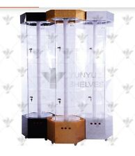 NEW Black Hexagonal Tower Spinning Display Case With Light NY Pick Up AV. FREE