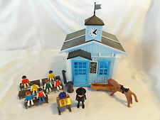 Playmobil Western One-Room School House Church Building, Pot Belly Stove, 7 Kids